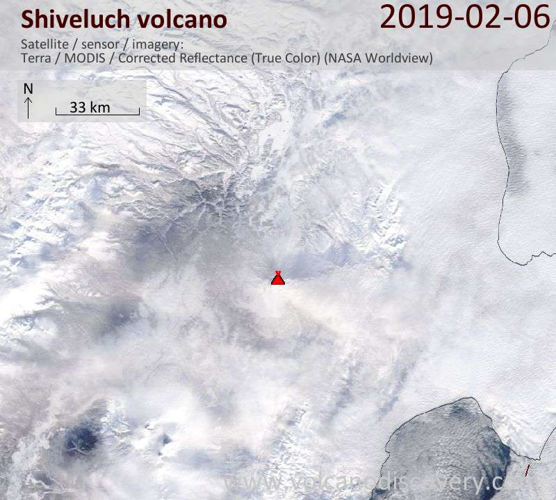 Satellite image of Shiveluch volcano on  6 Feb 2019