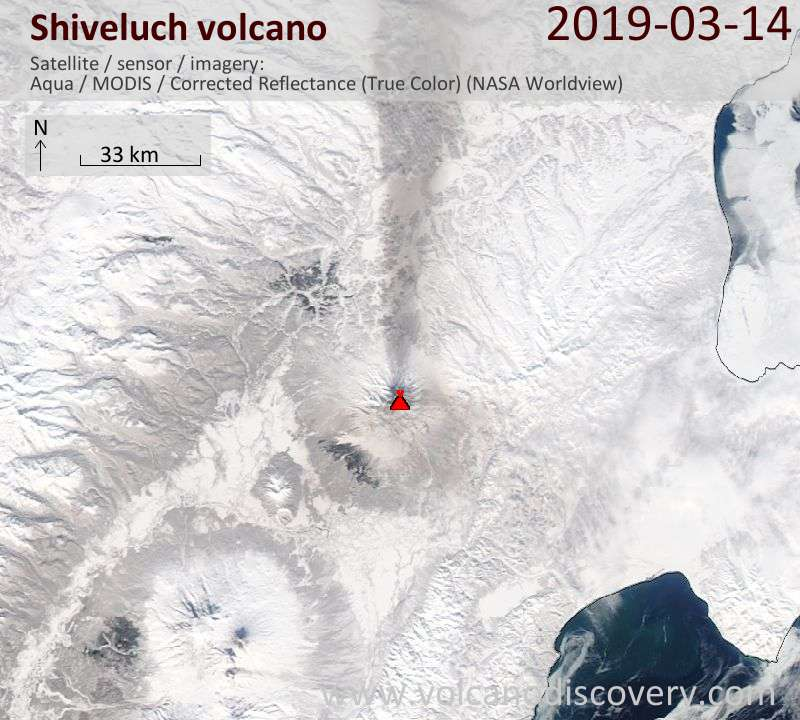 Satellite image of Shiveluch volcano on 15 Mar 2019