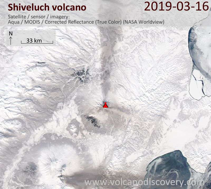 Satellite image of Shiveluch volcano on 16 Mar 2019