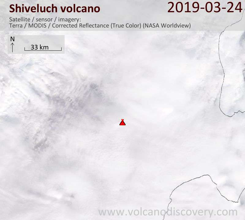 Satellite image of Shiveluch volcano on 24 Mar 2019