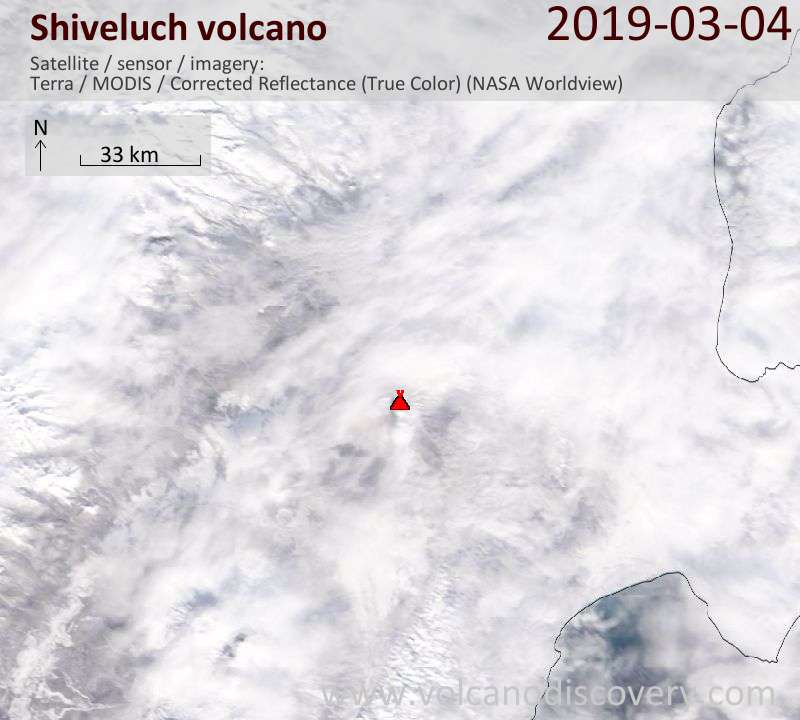Satellite image of Shiveluch volcano on  4 Mar 2019