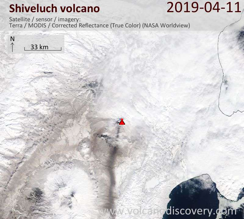 Satellite image of Shiveluch volcano on 11 Apr 2019
