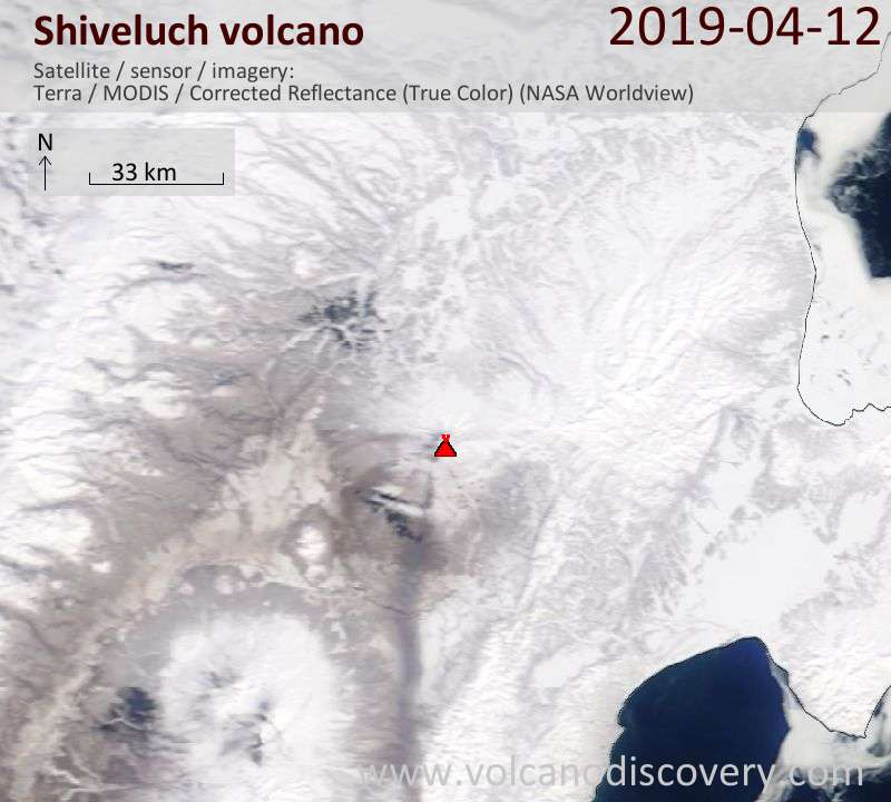 Satellite image of Shiveluch volcano on 12 Apr 2019