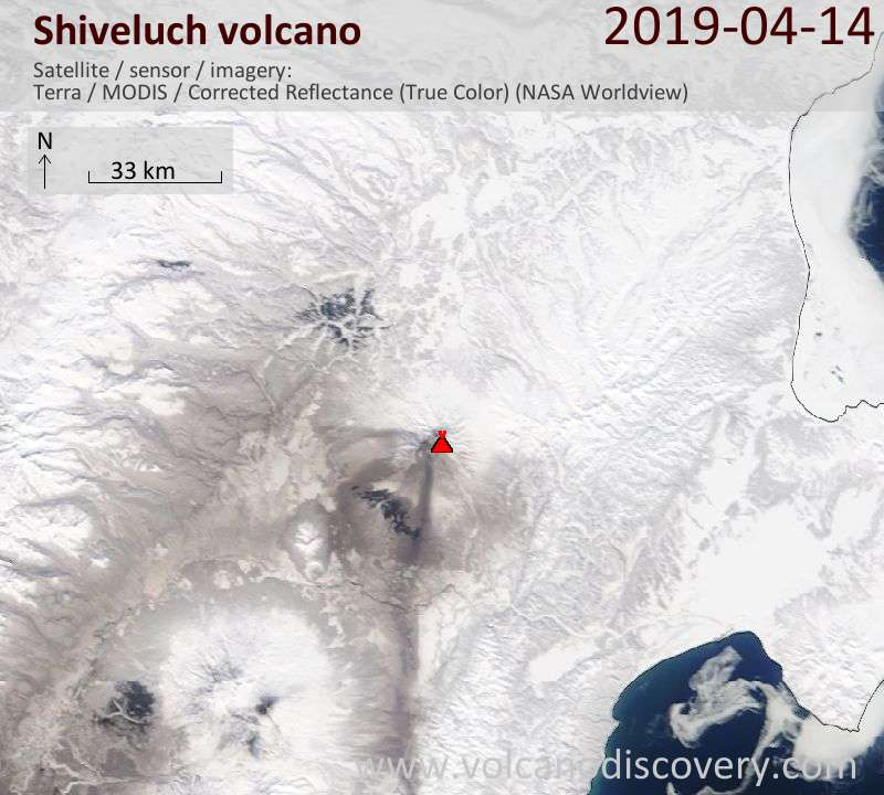Satellite image of Shiveluch volcano on 14 Apr 2019