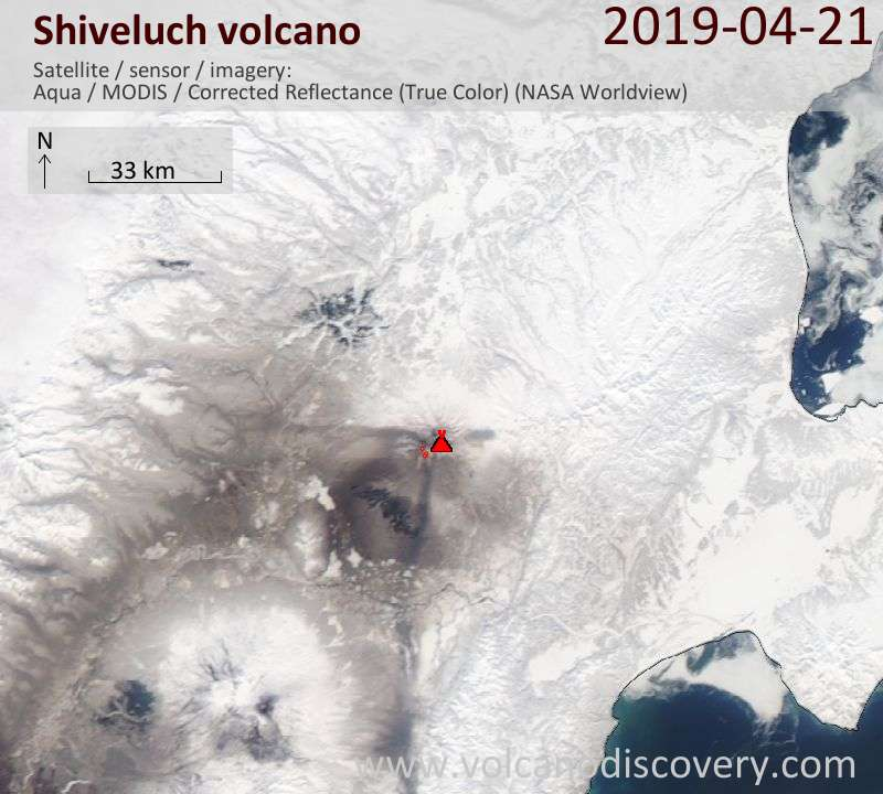 Satellite image of Shiveluch volcano on 21 Apr 2019