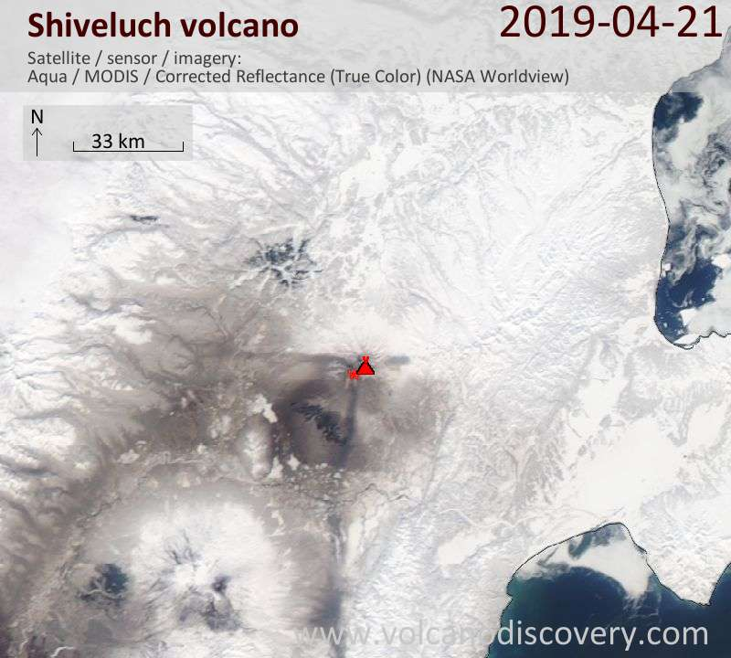 Satellite image of Shiveluch volcano on 22 Apr 2019