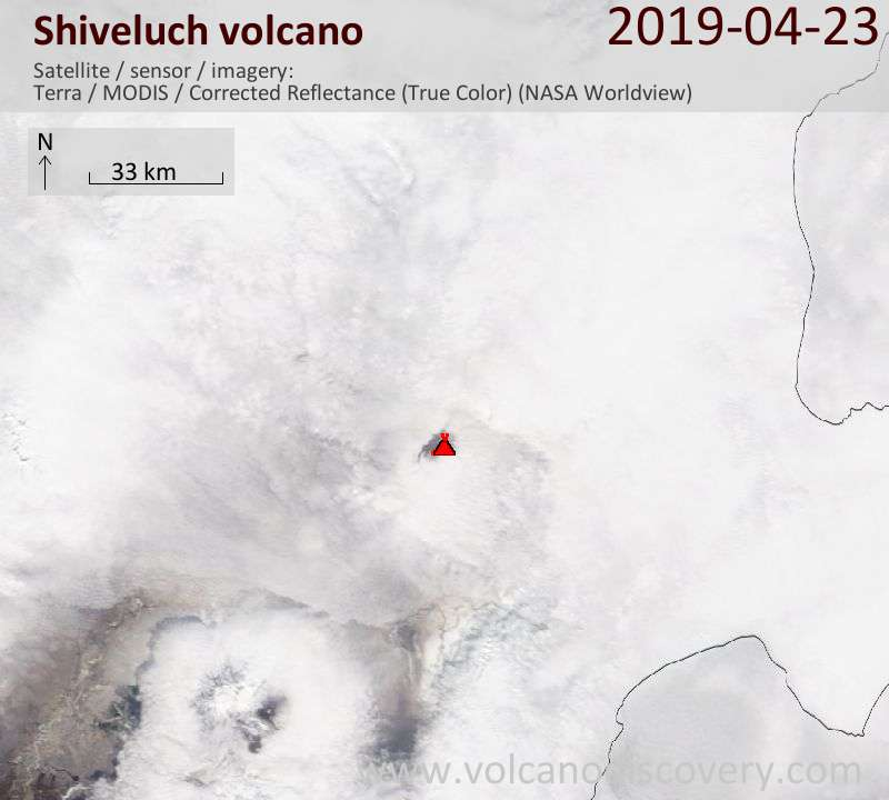 Satellite image of Shiveluch volcano on 23 Apr 2019