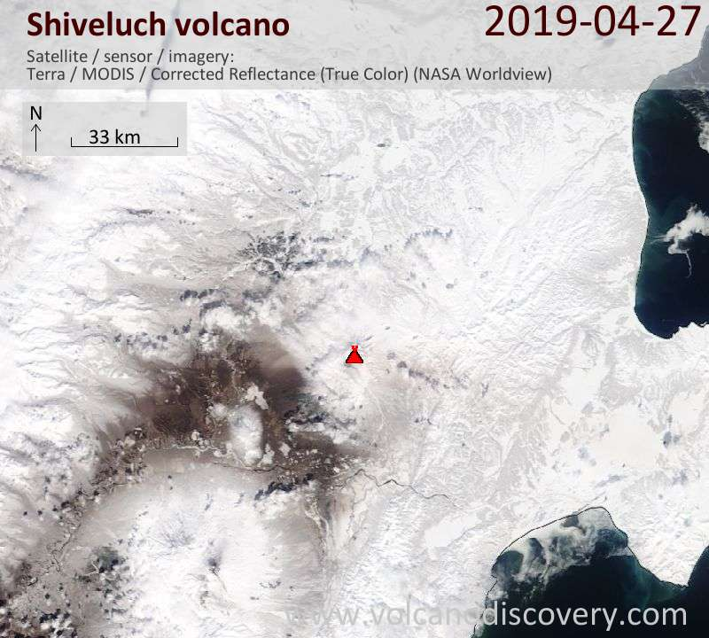 Satellite image of Shiveluch volcano on 27 Apr 2019