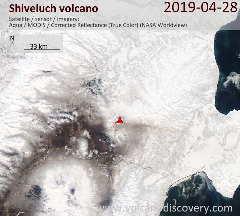 Satellite image of Shiveluch volcano on 28 Apr 2019