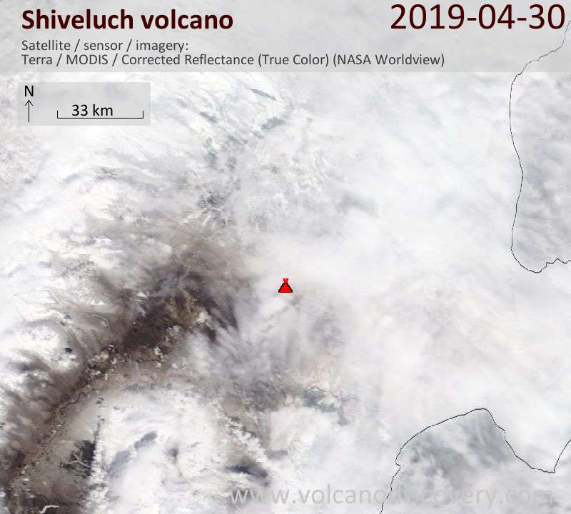Satellite image of Shiveluch volcano on 30 Apr 2019