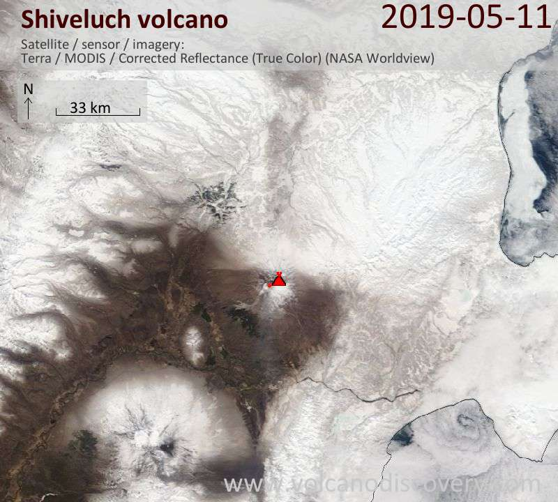 Satellite image of Shiveluch volcano on 11 May 2019