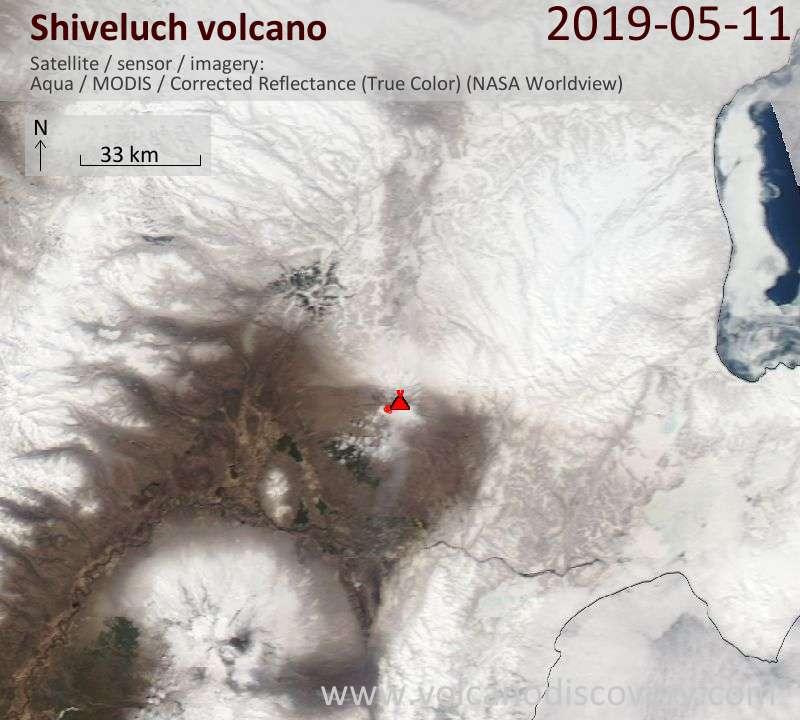 Satellitenbild des Shiveluch Vulkans am 12 May 2019