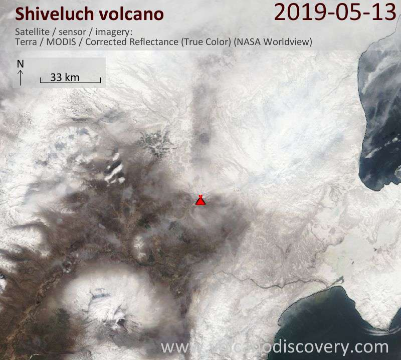 Satellitenbild des Shiveluch Vulkans am 13 May 2019