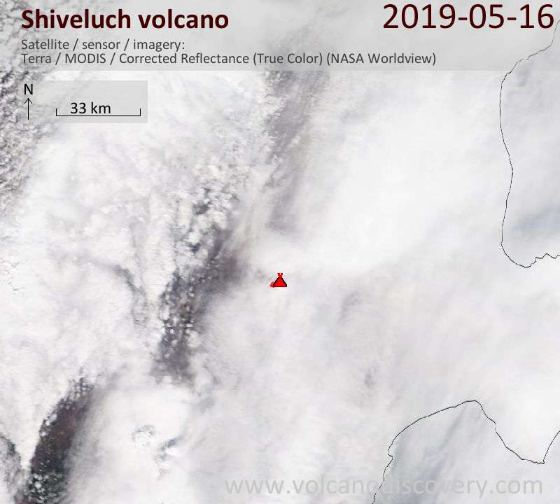 Satellite image of Shiveluch volcano on 16 May 2019