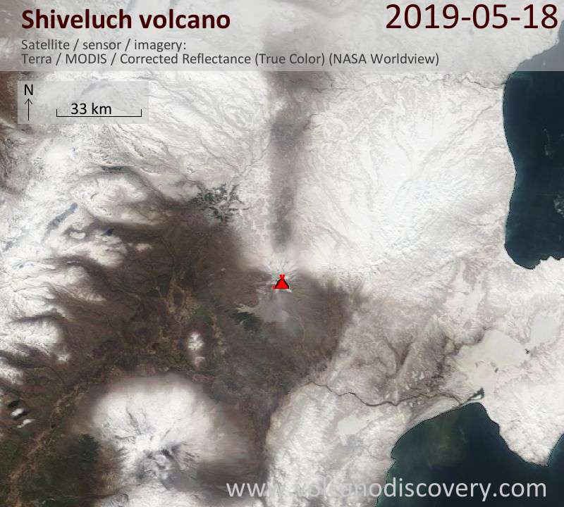 Satellite image of Shiveluch volcano on 18 May 2019