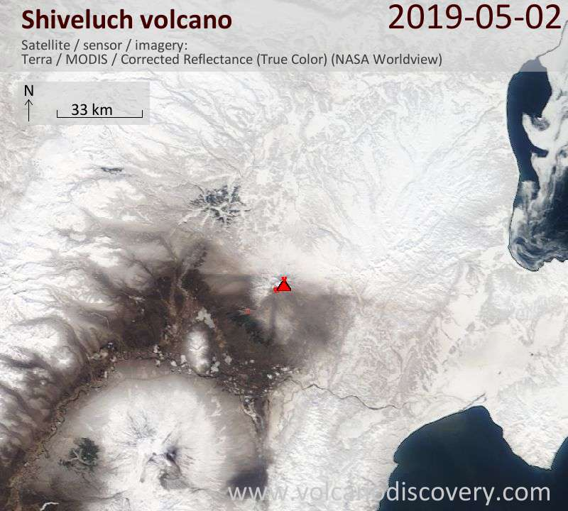Satellite image of Shiveluch volcano on  2 May 2019
