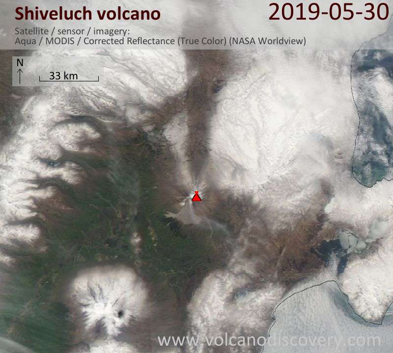 Satellite image of Shiveluch volcano on 30 May 2019