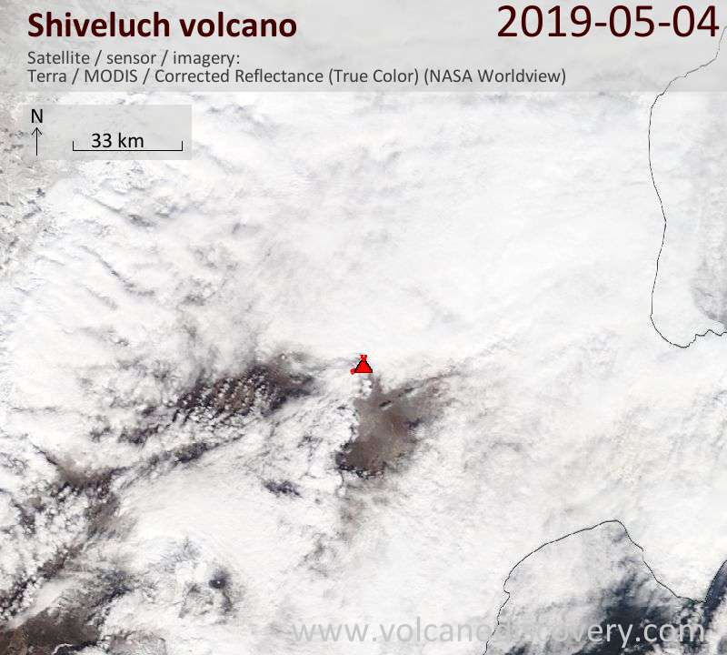 Satellite image of Shiveluch volcano on  4 May 2019