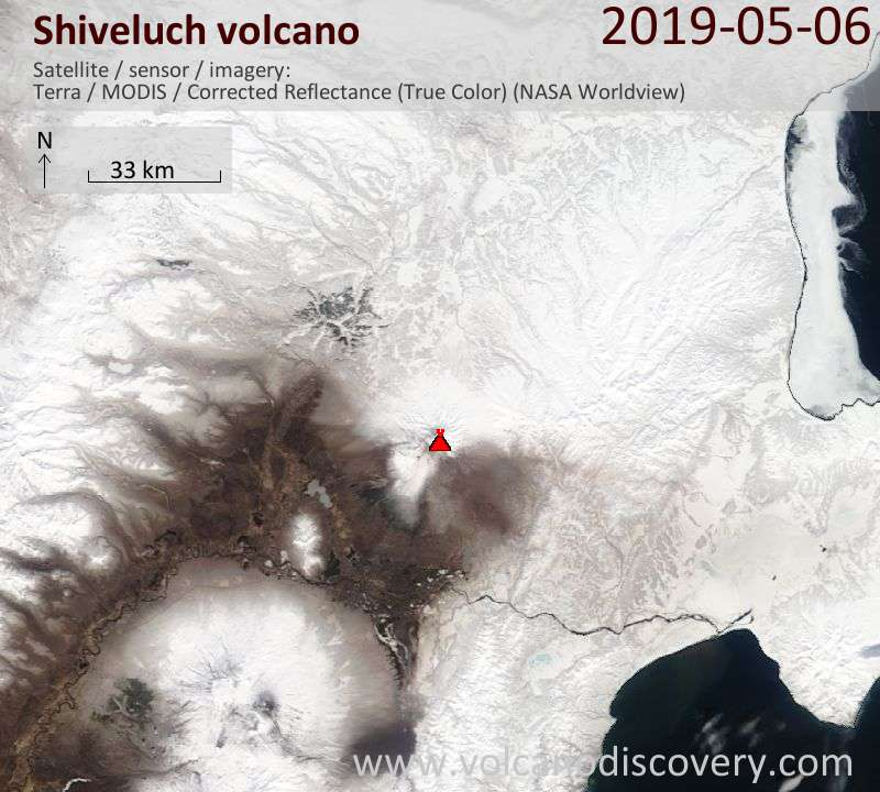 Satellitenbild des Shiveluch Vulkans am  6 May 2019