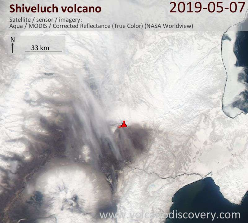 Satellite image of Shiveluch volcano on  7 May 2019