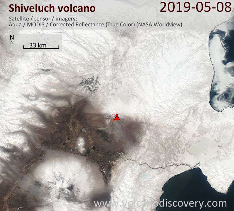 Satellite image of Shiveluch volcano on  8 May 2019