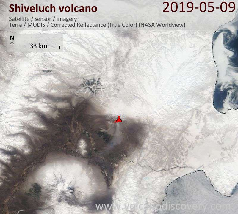 Satellite image of Shiveluch volcano on  9 May 2019