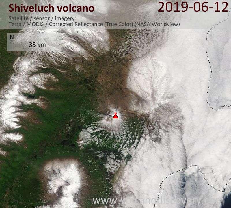 Satellite image of Shiveluch volcano on 12 Jun 2019