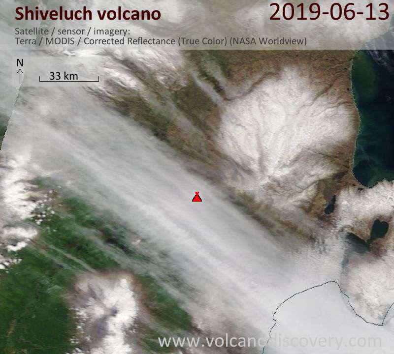Satellite image of Shiveluch volcano on 13 Jun 2019