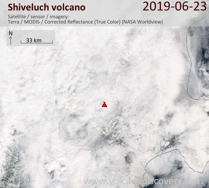 Satellite image of Shiveluch volcano on 23 Jun 2019