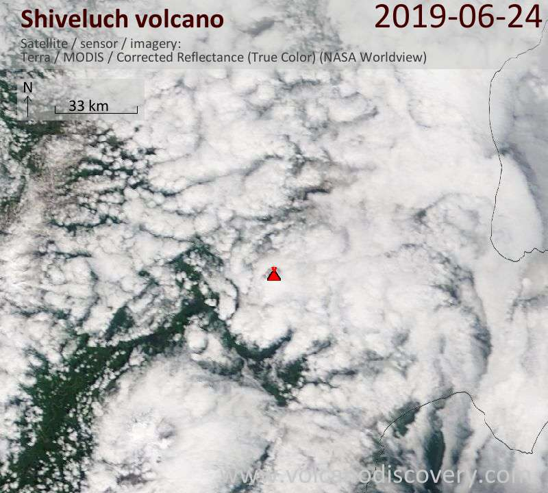 Satellite image of Shiveluch volcano on 24 Jun 2019