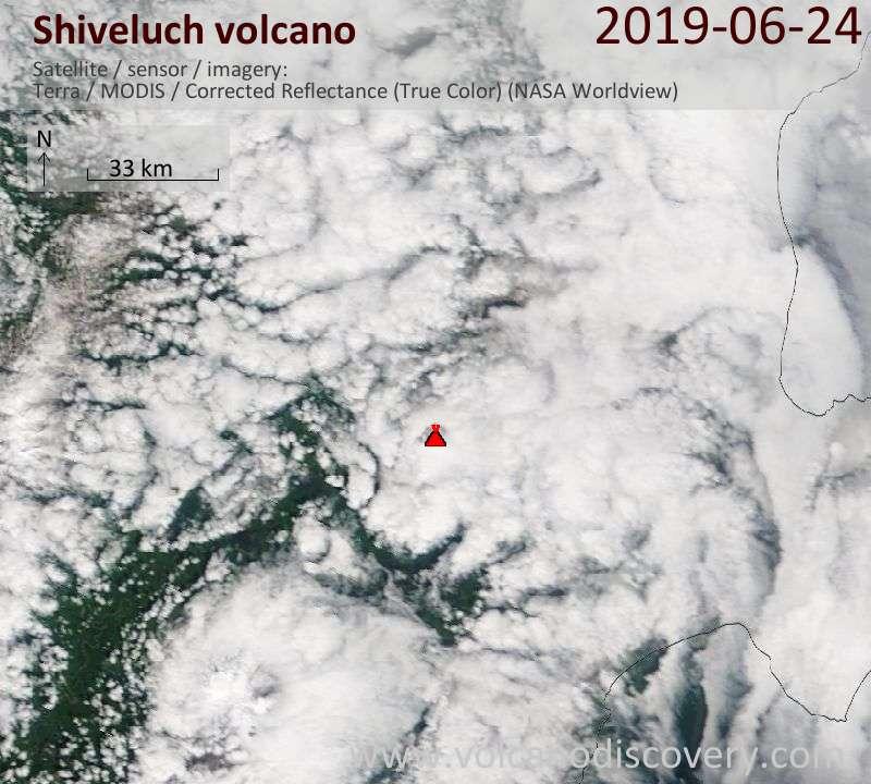 Спутниковое изображение вулкана Shiveluch 24 Jun 2019