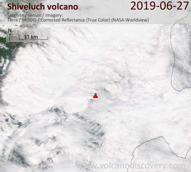 Satellite image of Shiveluch volcano on 27 Jun 2019