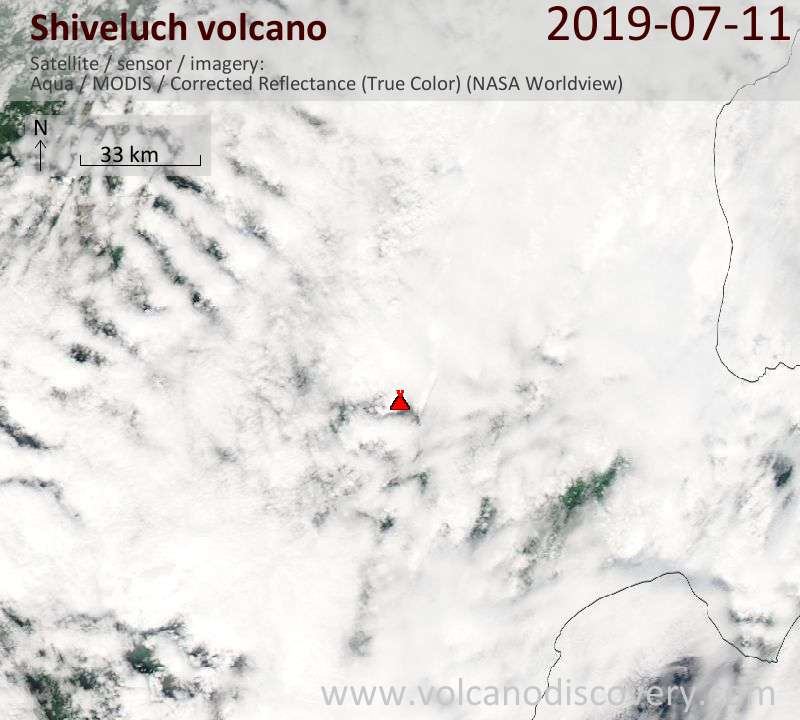 Satellite image of Shiveluch volcano on 11 Jul 2019