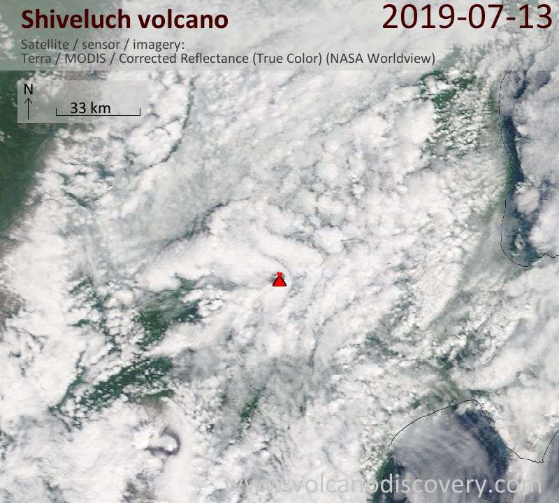 Satellite image of Shiveluch volcano on 13 Jul 2019