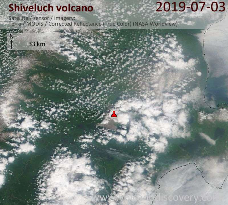 Satellite image of Shiveluch volcano on  3 Jul 2019