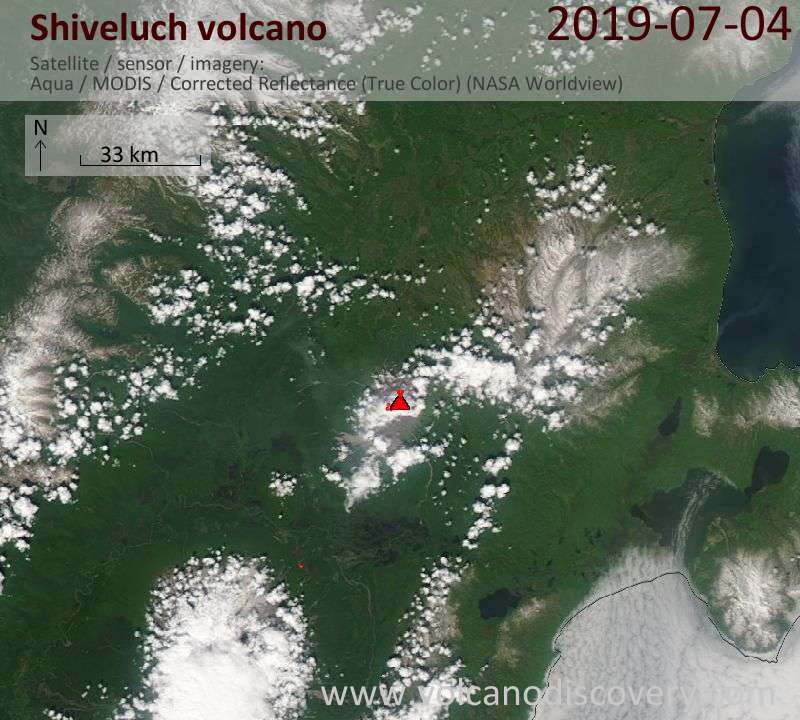 Satellite image of Shiveluch volcano on  4 Jul 2019