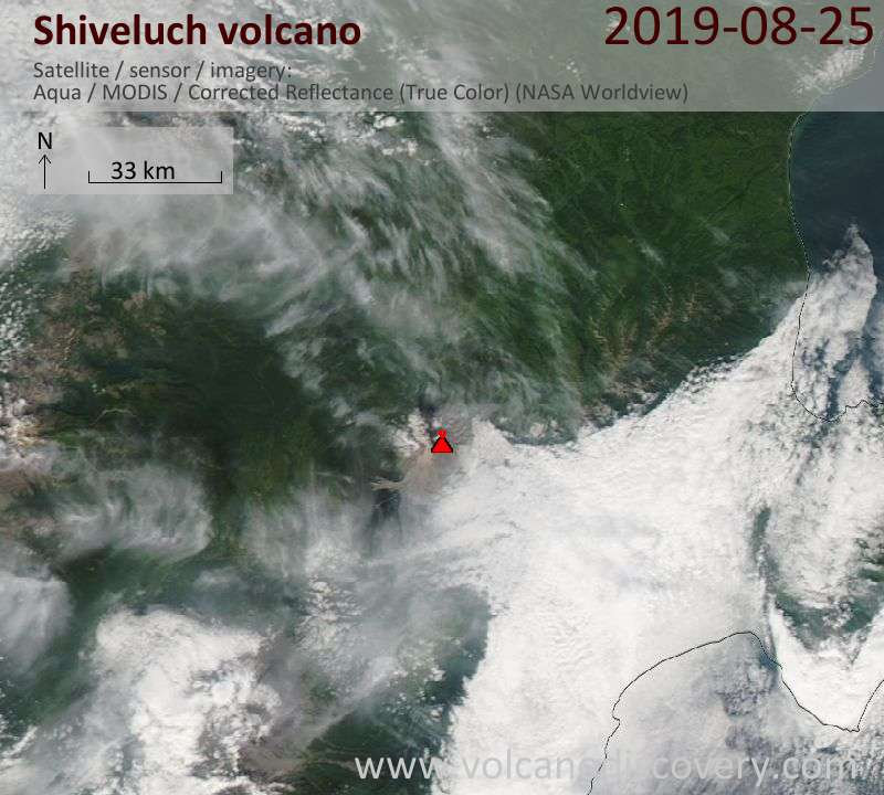 Satellite image of Shiveluch volcano on 25 Aug 2019
