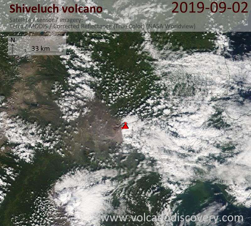 Satellite image of Shiveluch volcano on  2 Sep 2019