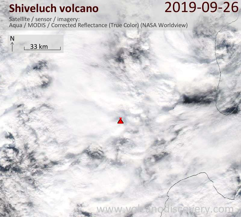 Satellite image of Shiveluch volcano on 26 Sep 2019