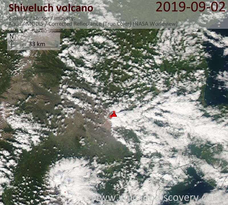 Satellite image of Shiveluch volcano on  3 Sep 2019