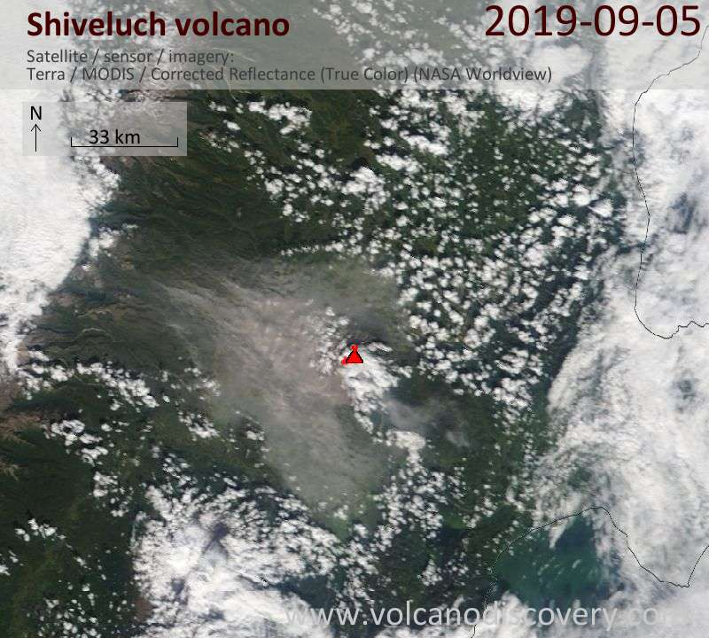 Satellite image of Shiveluch volcano on  5 Sep 2019