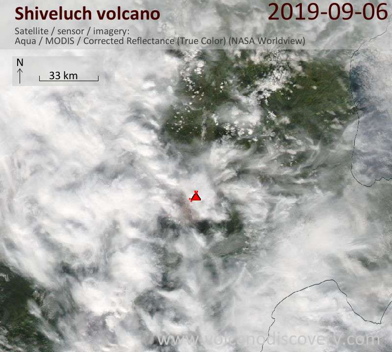 Satellite image of Shiveluch volcano on  7 Sep 2019