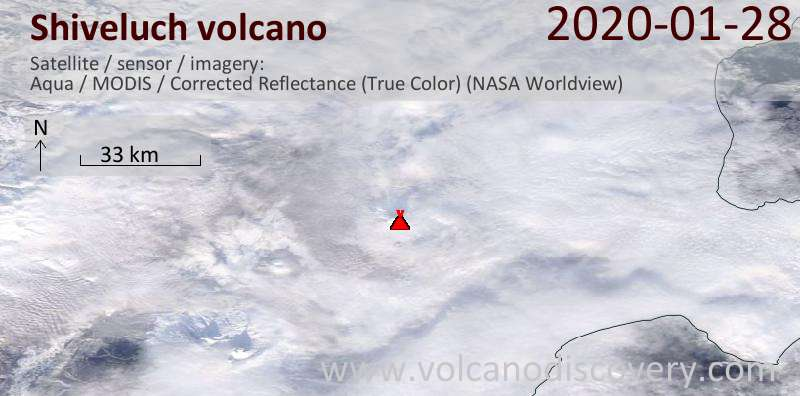 Satellite image of Shiveluch volcano on 28 Jan 2020
