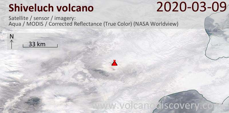 Satellite image of Shiveluch volcano on  9 Mar 2020