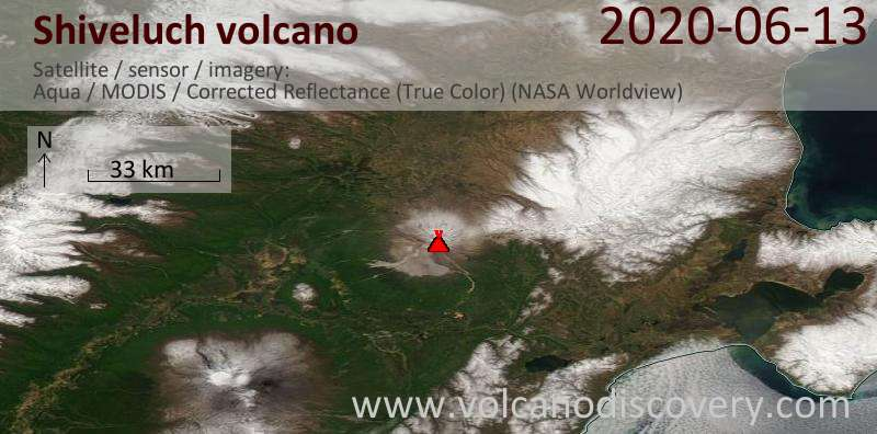 Satellite image of Shiveluch volcano on 13 Jun 2020
