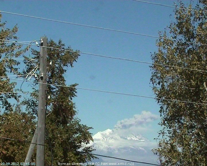 Ash eruption from Sheveluch on 20 Sep (KVERT webcam)