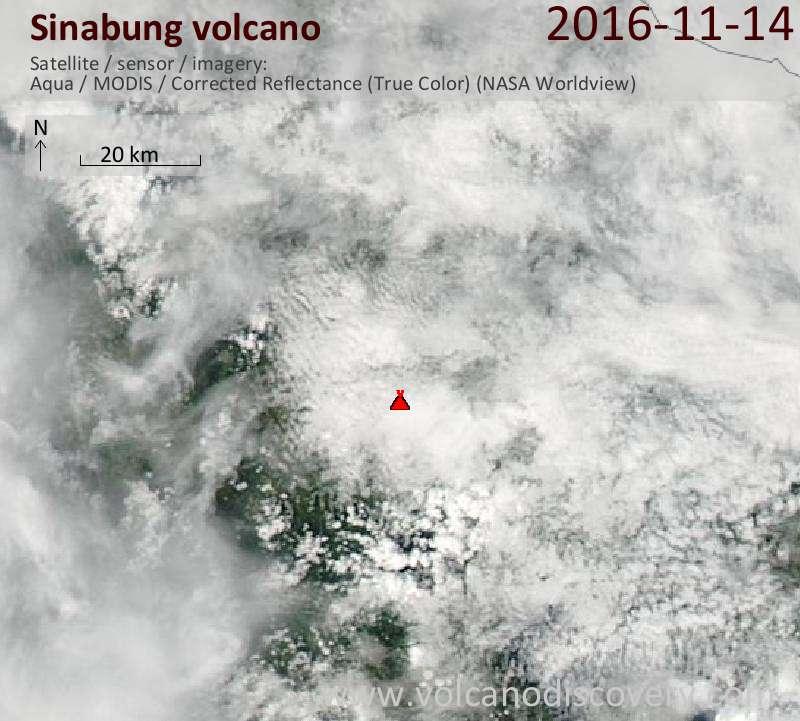 Satellite image of Sinabung volcano on 14 Nov 2016