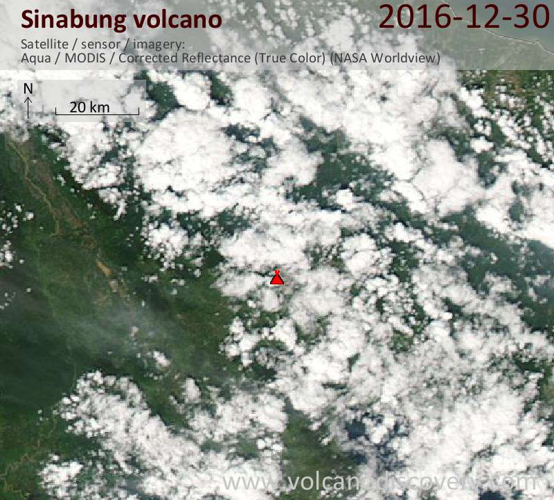 Satellite image of Sinabung volcano on 30 Dec 2016