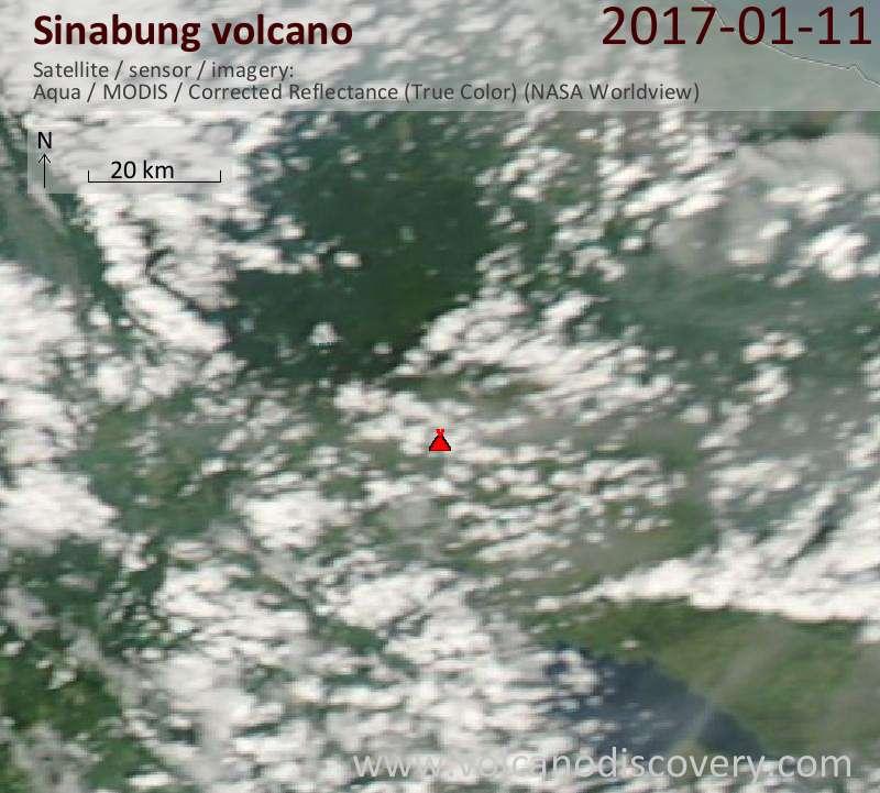 Satellite image of Sinabung volcano on 11 Jan 2017