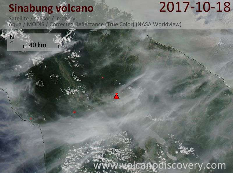 Satellite image of Sinabung volcano on 18 Oct 2017